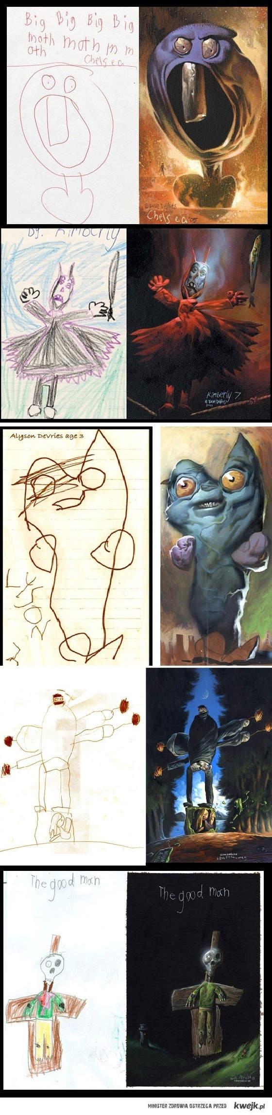 Realistyczne wersje rysunków dzieci o_o