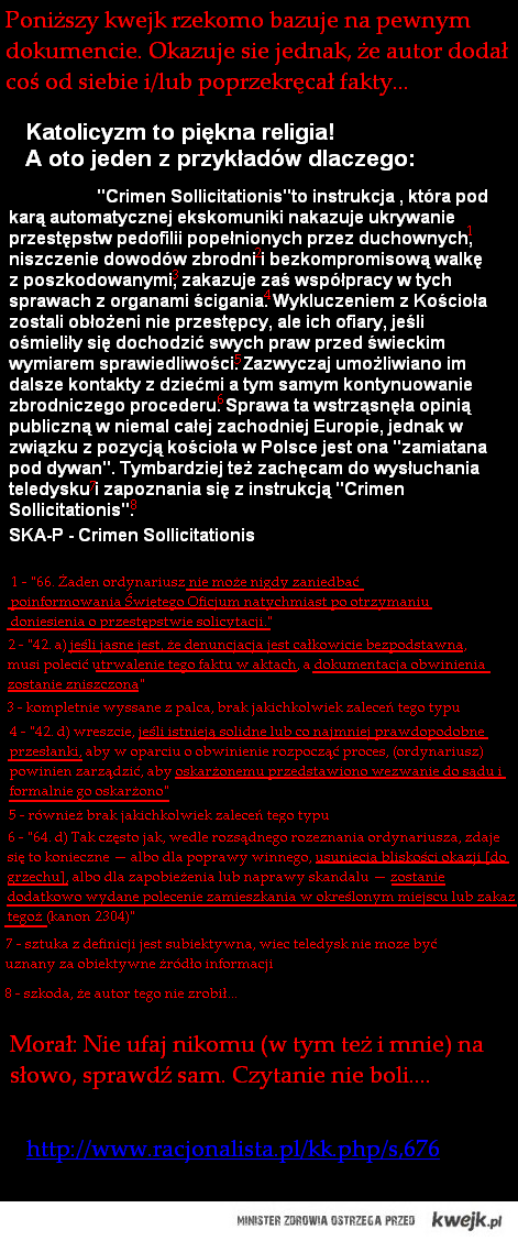 Crimen Sollicitationis - wersja poprawiona