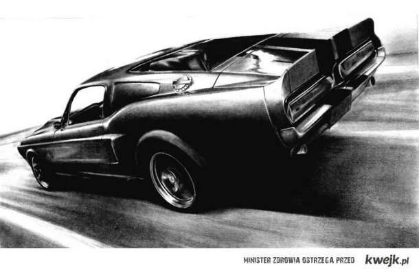 Shelby GT500 rysowane ołówkiem