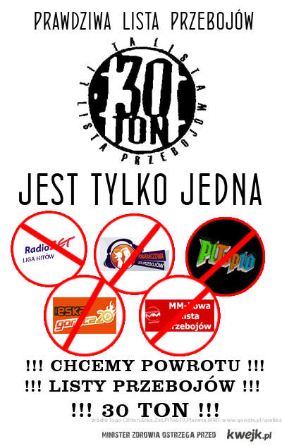 """Chcemy powrotu """"listy przebojów 30 Ton"""" !"""