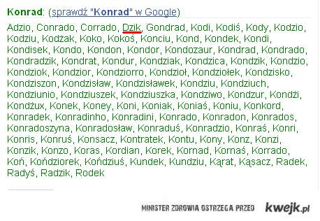 Zdrobnienia Konrad