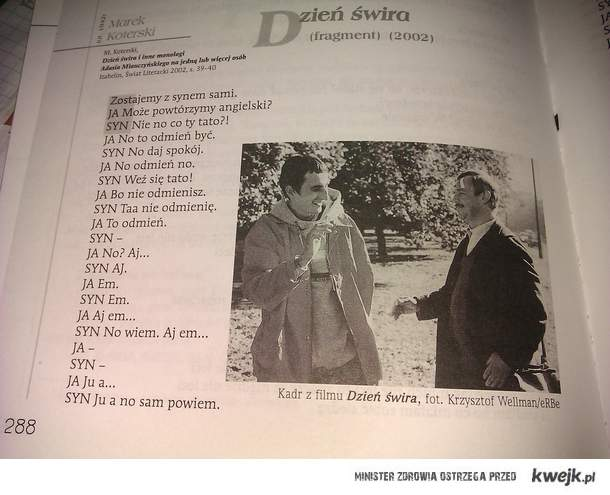 co kumpel znalazl w ksiazce od polskiego.
