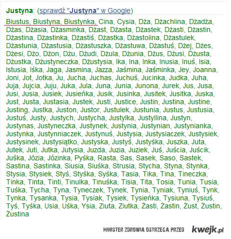 Justyna - zdrobnienia