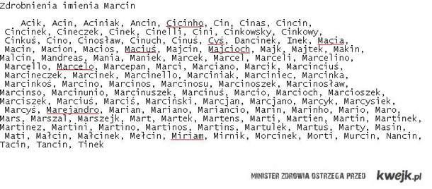 Zdrobnienia Imienia Marcin ?!