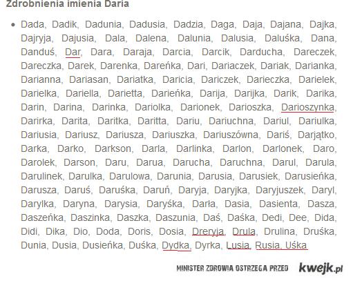 Zdrobnienia imienia Daria