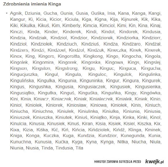 Zdrobnienie od kinga