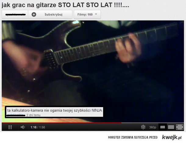 Ninja gra na gitarze
