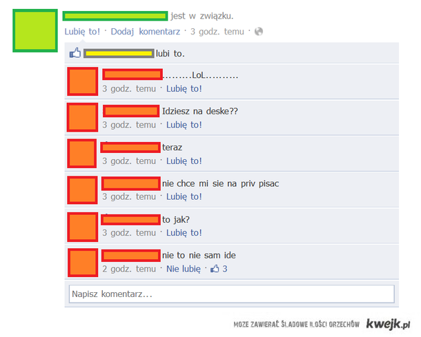 przejęcie się statusem na fb
