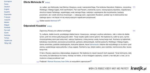 List kozaków zaporoskich do sułtana Mehmeda IV- największy diss w historii