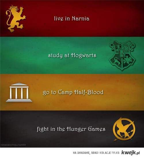 Narnia , Hogwarts , Camp Half-Blood , Hunger Games