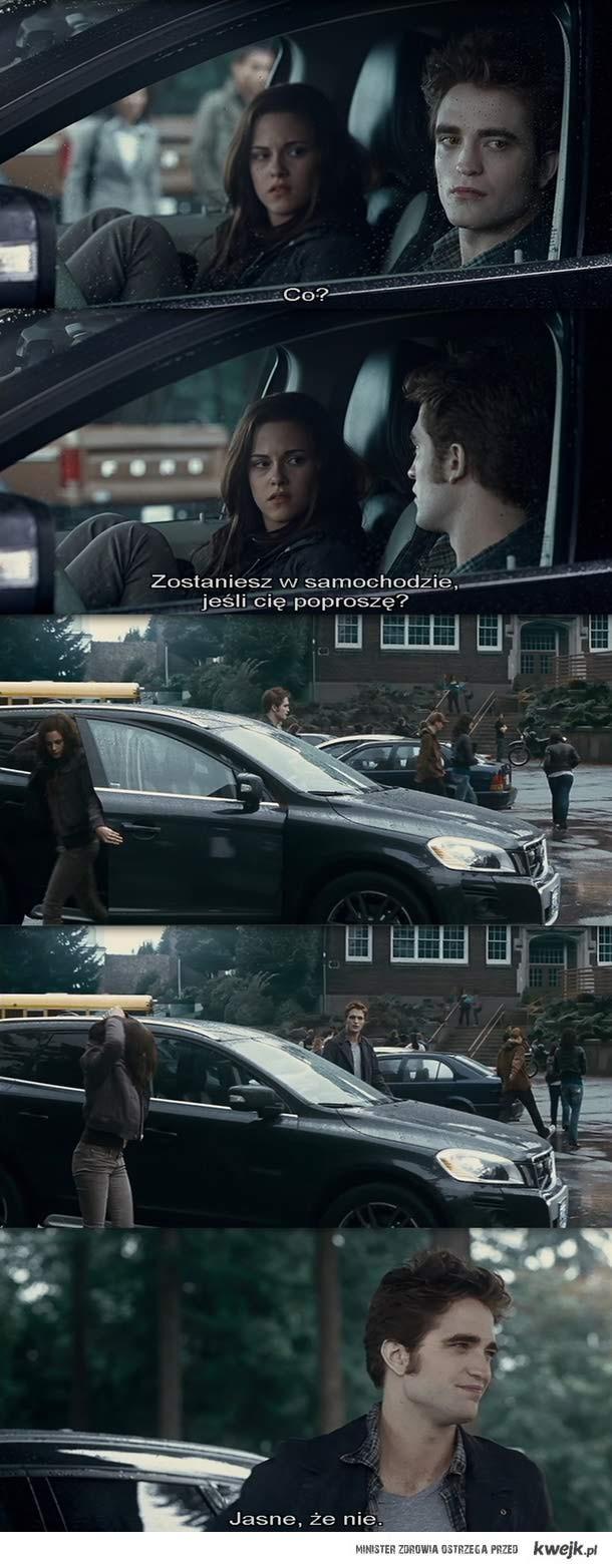 zostaniesz w samochodzie, jeśli Cię poproszę?