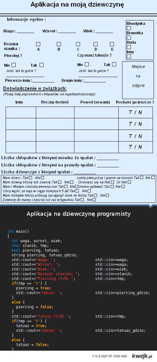 Aplikacja na dziewczyne programisty