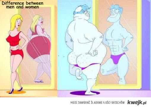 różnica pomiedzy kobietą, a mężczyzną..