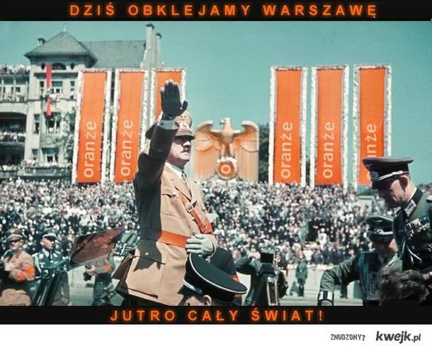Oranże obkleja syfem warszawskie wieżowce!