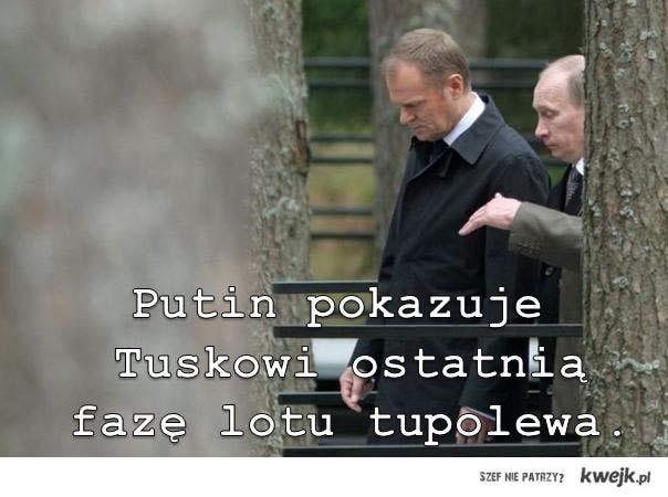Putin pokazuje Tuskowi ostatnią fazę lotu tupolewa
