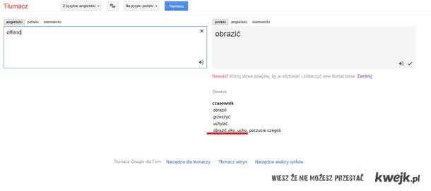 google tłumacz obrazic oko