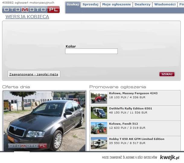Wyszukiwarka aut, wersja kobieca