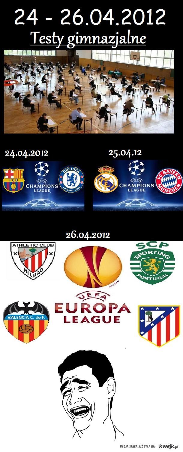 Testy gimnazjalne vs Liga Mistrzów & Liga Europejska