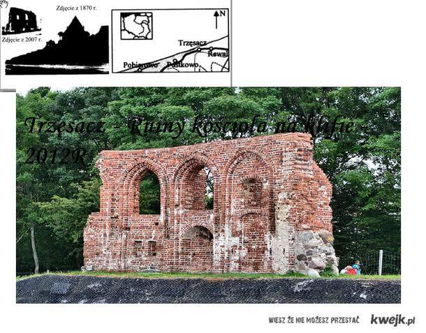 Trzęsacz  Ruiny kościoła na klifie test gimnazjalny