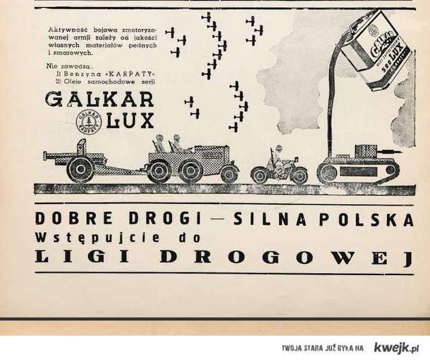 Reklama polskiej benzyny. Lata 30te