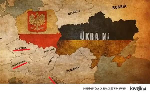 Mapa Europy podczas euro 2012 według Anglików