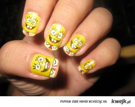 piękne paznokcie SPONHBOB