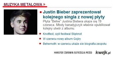 Bieber metalowy na muzyka onet