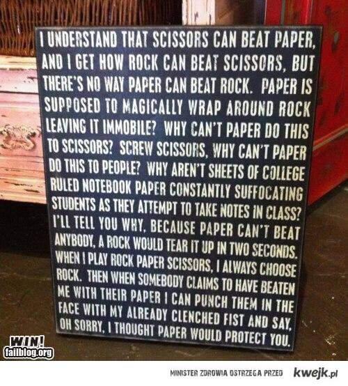 Zmiana zasad gry w Papier, nożyce :)