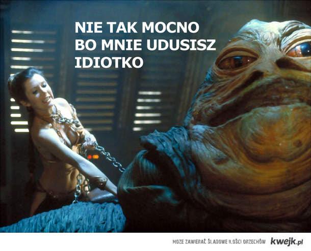 Jabba dusi Leię