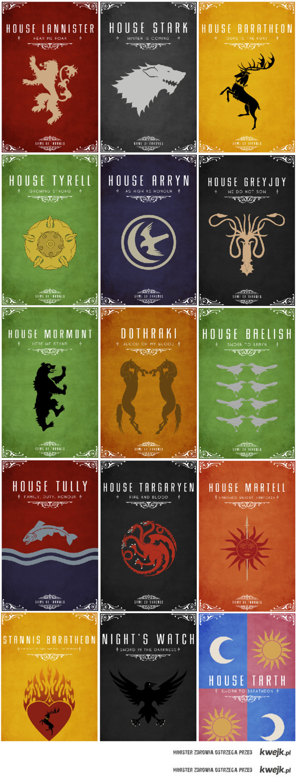 houses in game of thrones