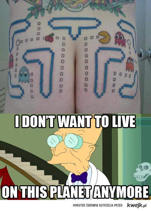 Pacman Tatuaż Na Tyłku Ministerstwo śmiesznych Obrazków