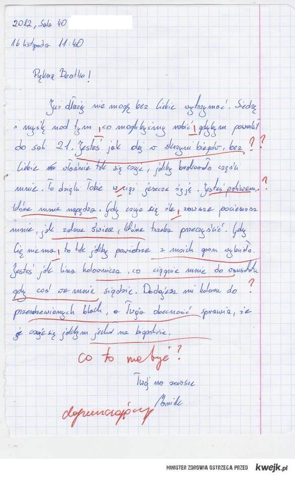 List miłosny (zad. z polskiego) :)