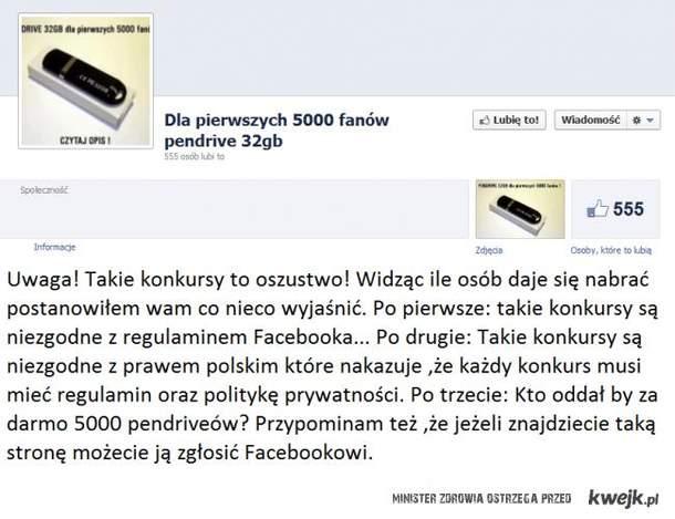 Konkursy na FB. Ostrzeżenie!