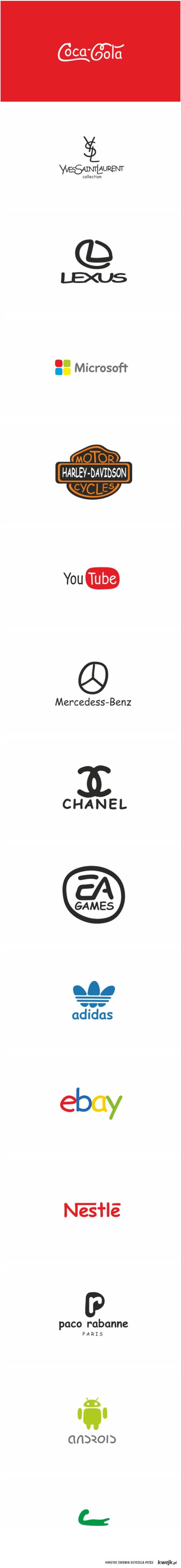 Wielkie marki napisane comic sans