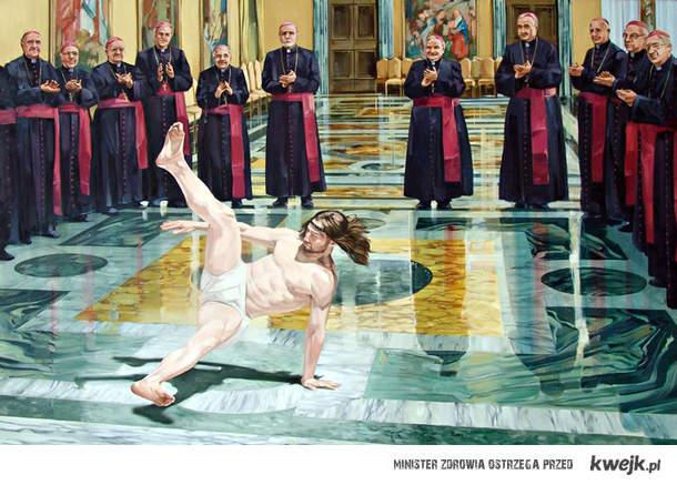 Jesus breakdancing
