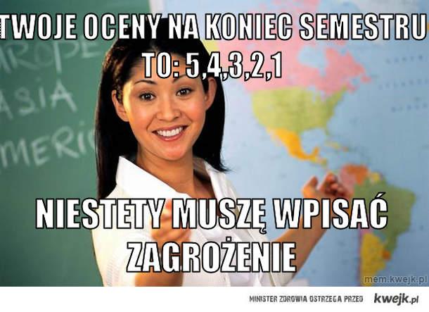 twoje oceny na koniec semestru to: 5,4,3,2,1