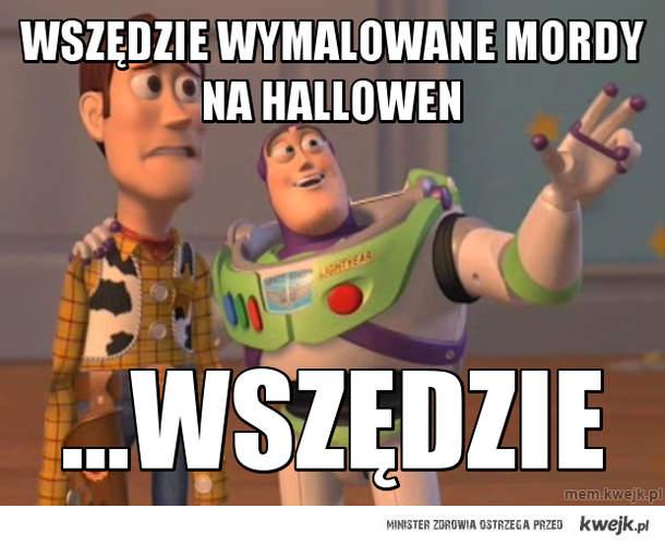 wszędzie wymalowane mordy na hallowen