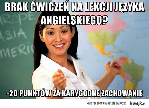 brak ćwiczeń na lekcji języka angielskiego?
