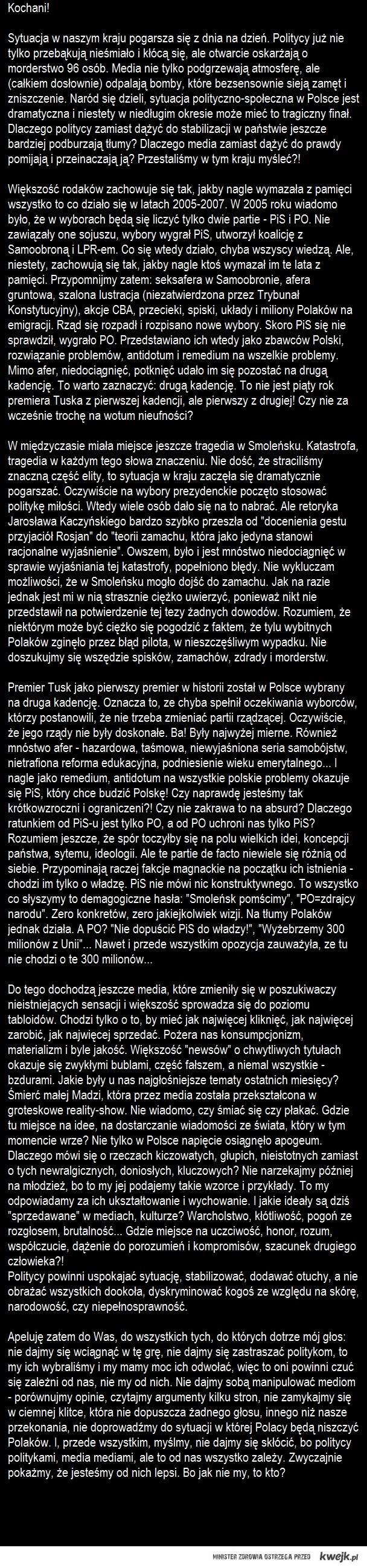 List do Polaków - zacznijmy myśleć!