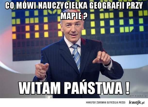 Co mówi nauczycielka geografii przy mapie ?