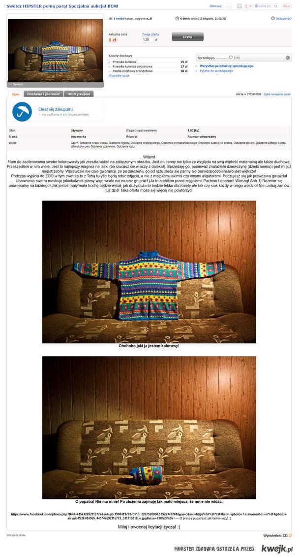 Sweter HIPSTER pełną parą! Specjalna aukcja! BCM!
