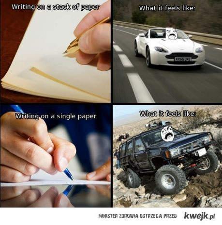 pisanie na pojedynczej kartce
