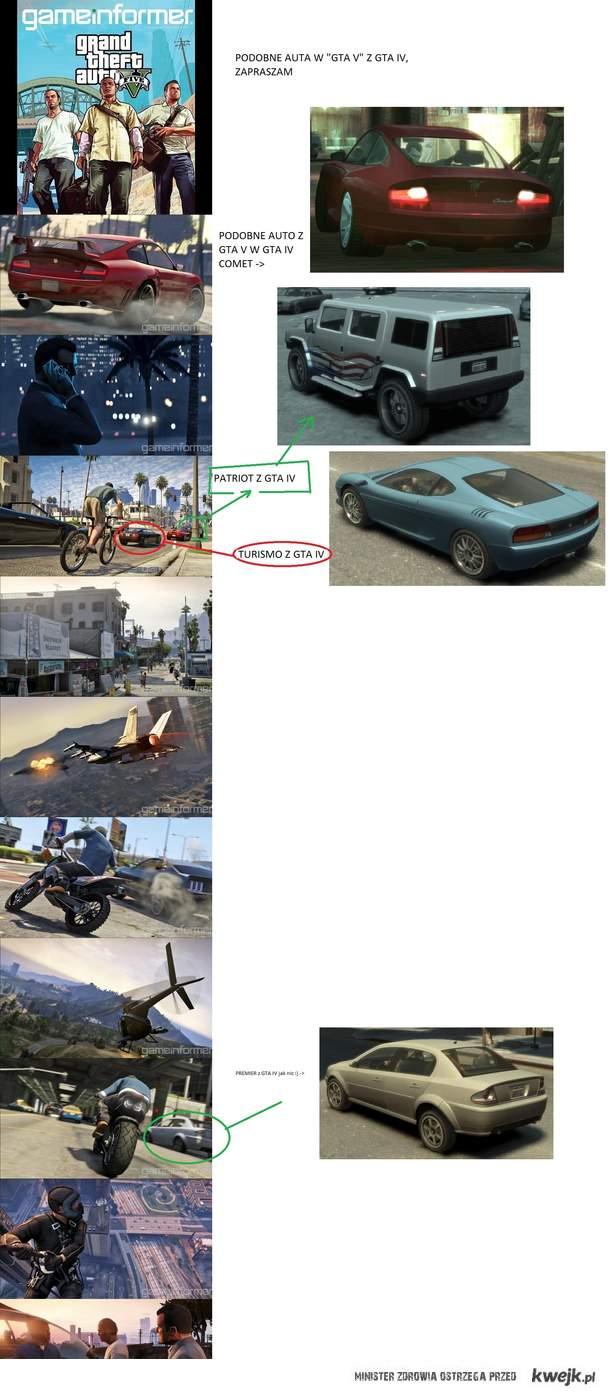 """porównanie samochodów """"GTA V"""" i GTA  IV"""