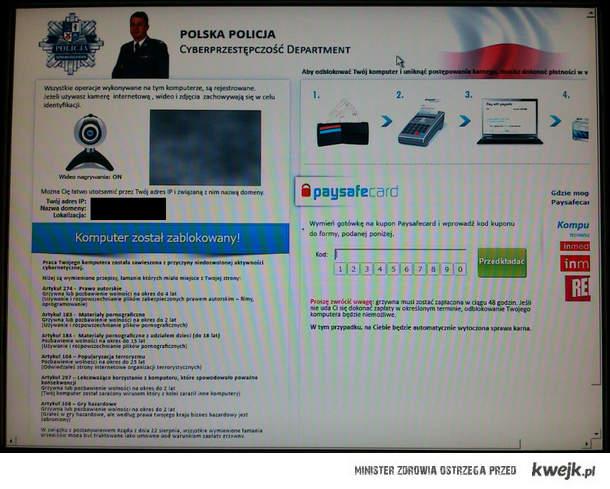 Screen z działania wirusa Weelsof