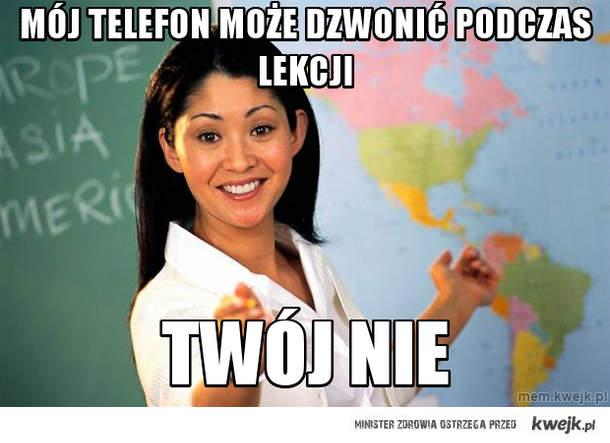 Mój telefon może dzwonić podczas lekcji
