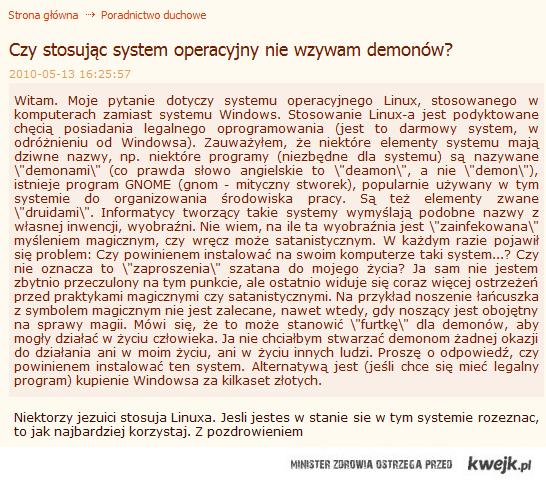 Czy stosując system operacyjny nie wzywam demonów?