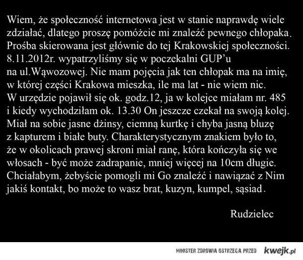Proszę, pomóżcie mi znaleźć pewnego Chłopaka z Krakowa