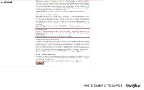 Ogłoszenie o pracę w Lubinie