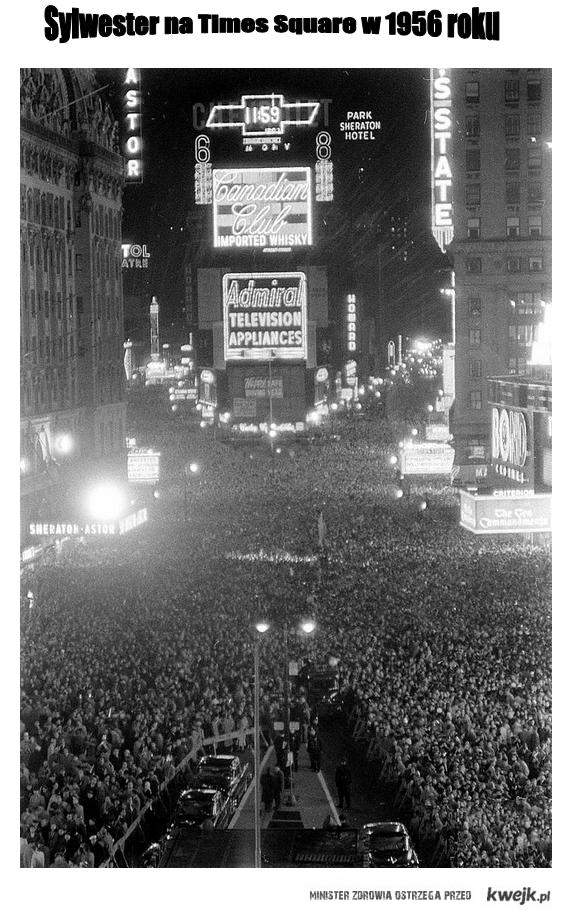 Time Square w 1956 roku - Sylwester