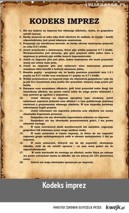 kodeks imprez